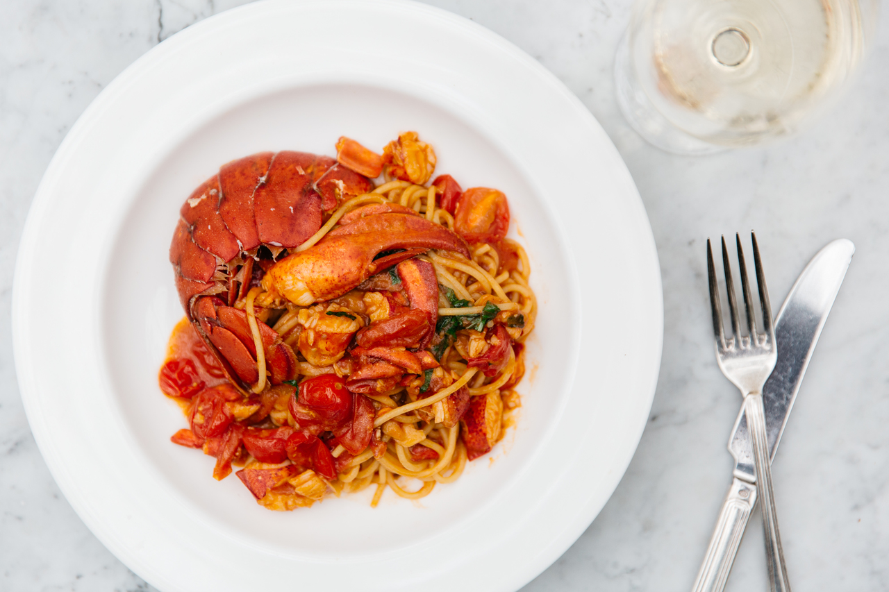 Spaghetti with Maine lobster
