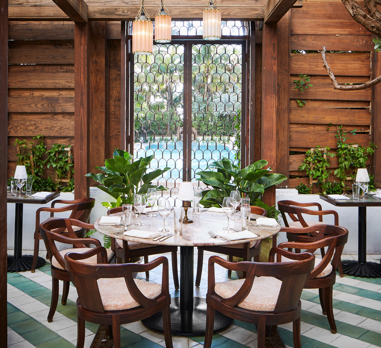 Wooden dining table, chairs and potted plants